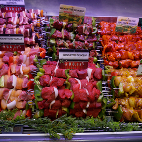 brochettes natures marinées